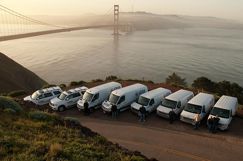 American Leak Detection Trucks Golden Gate Bridge San Francisco
